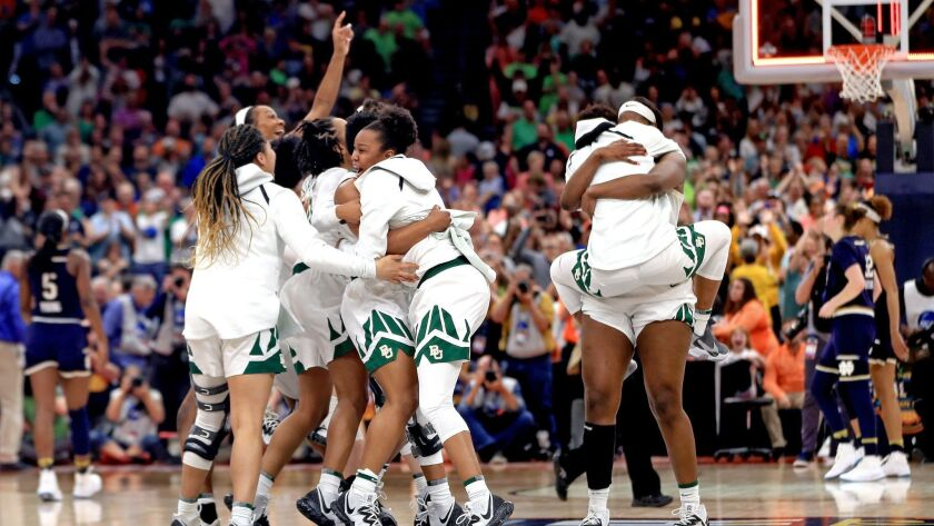 The Baylor Lady Bears celebrate their 82-81 win over the Notre Dame Fighting Irish.