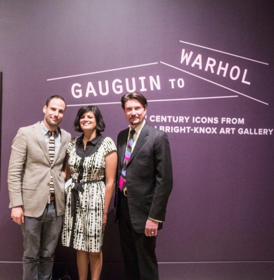 "Ariel Plotek (Associate Curator of Modern Art) with Marika Sardar (Associate Curator of Asian and Islamic Art), and Michael Brown (Associate Curator of European Art) attend the San Diego Museum of Art's ""Gauguin to Warhol"" exhibit opening, Oct. 1, 2014."