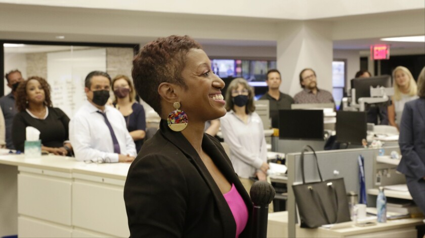 Katrice Hardy, The Dallas Morning News' executive editor, talks to the newsroom on Wednesday, July 21, 2021, in Dallas, Texas. Hardy joins The News next month as executive editor. She's currently executive editor at the Indianapolis Star, which won this year's Pulitzer Prize for national reporting, and Midwest regional editor for the USA Today Network. (Irwin Thompson/The Dallas Morning News via AP)
