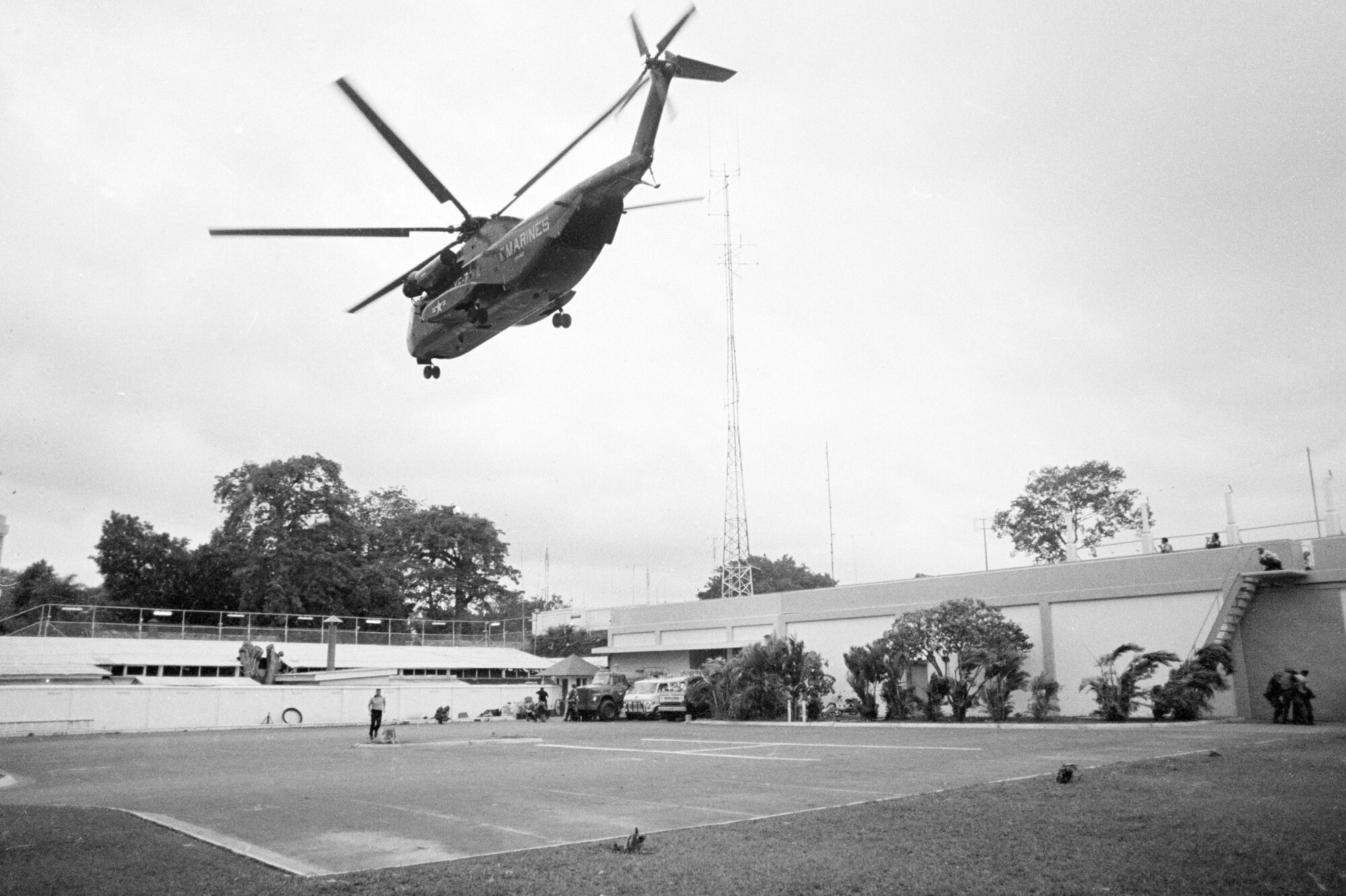 The helicopter zone at the U.S. Embassy in Saigon, Vietnam