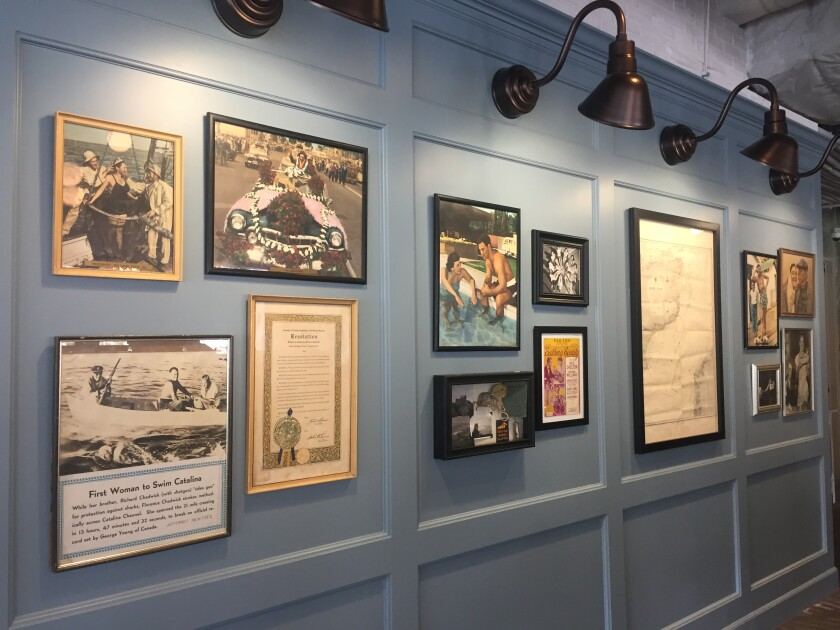 The Chadwick photo wall inside The Florence restaurant at Kilroy Sabre Springs business park, which is named for San Diego native and 1950s-era long-distance swimmer Florence Chadwick.