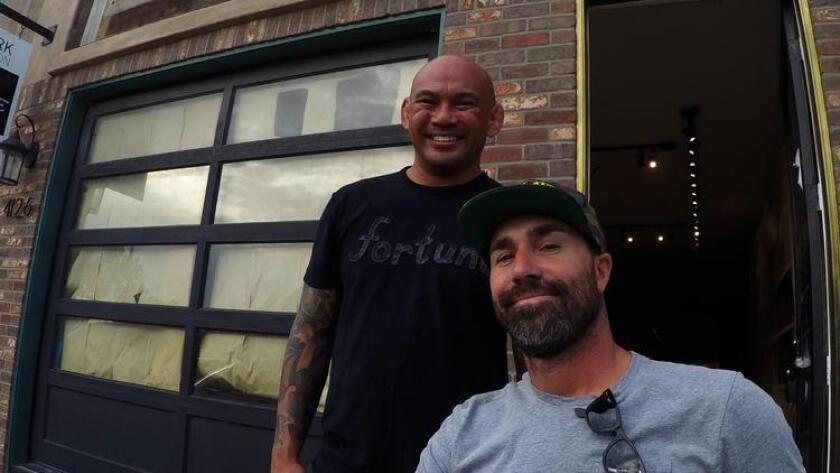 Justin Lopez (left) and Nate Ladendorf will open taproom and bottle shop Poseidon Project in Baypark on Nov. 6. (Ken Lewis)