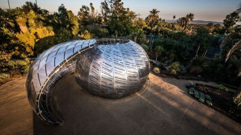 The NASA Orbit Pavilion is a collaboration between the NASA Jet Propulsion Laboratory, sound artist Shane Myrbeck and the architecture firm StudioKCA; it's now on view at the Huntington Library, Art Collections, and Botanical Gardens.
