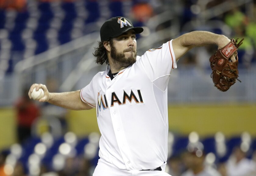 Dan Haren pitches for Miami against Washington on Thursday, July 30, 2015.