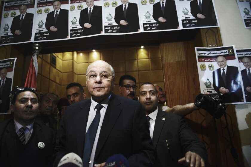 Moussa Mostafa Moussa, leader of El-Ghad party and a candidate in the 2018 presidential election, du
