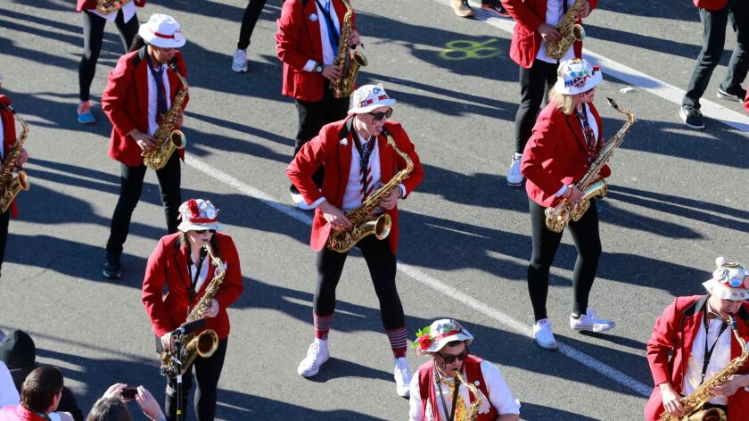 The Stanford marching band performs during the Rose Parade on Jan. 1.