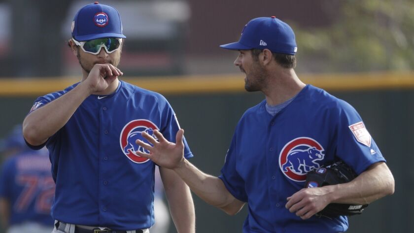 Chicago Cubs' Yu Darvish talks to Cole Hamels during a spring training baseball workout Friday, Feb.