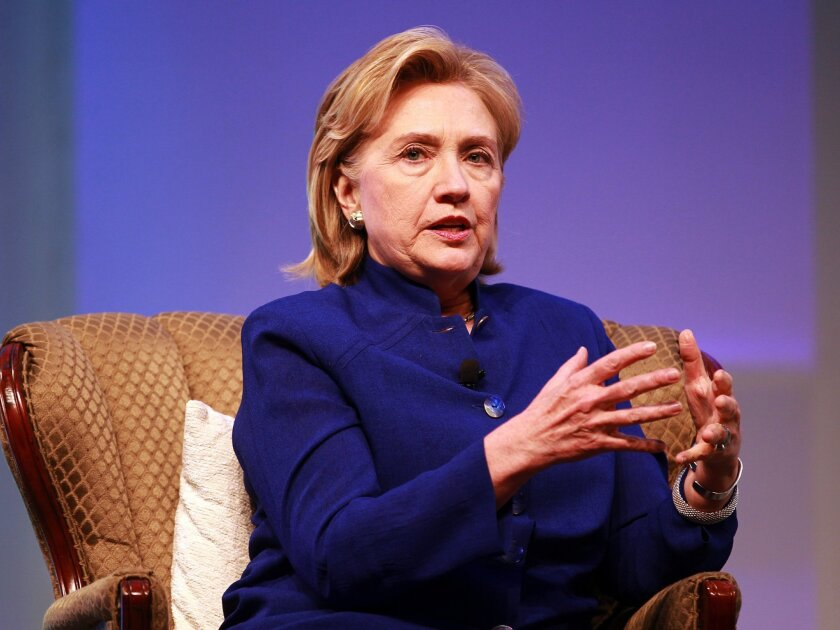 June 25, 2014 - San Diego, CA, U.S. - At the BIO International Convention at the Convention Center, Hillary Rodham Clinton delivers the keynote address on Wednesday. She was interviewed by Jim Greenwood, president and CEO of the Biotechnology Industry Organization.