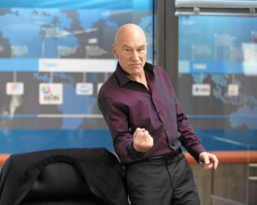 """Patrick Stewart portrays a self-absorbed news anchor who's the star of a cable show in """"Blunt Talk."""""""