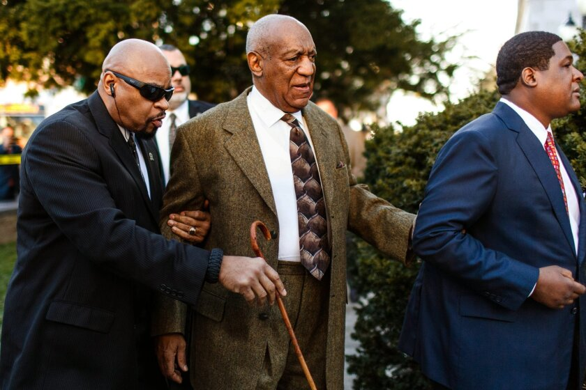FILE - In this Tuesday, Feb. 2, 2016 file photo, Bill Cosby enters the Montgomery County Courthouse for a court appearance in Norristown, Pa. Cosby's criminal sexual-assault case appears to be headed toward an evidence hearing after a Pennsylvania judge denied his latest effort to throw the charges