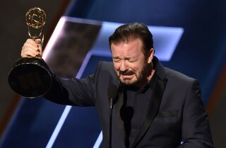 Ricky Gervais hilariously pretends to win an Emmy | Emmys 2015