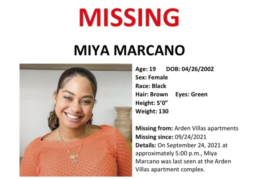 This image provided by the Orange County Sheriff's Office in Orlando, Fla., shows a part of a missing persons poster with an image of missing student Miya Marcano. On Monday, Sept. 27, 2021, authorities found the body of a maintenance worker who was considered a person of interest in the case of Marcano, a central Florida college student who has been missing since Friday, Sept. 24. (Orange County Sheriff's Office via AP)