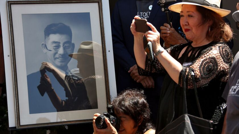 LOS ANGELES, CA AUGUST 01, 2015 -- Framed photo of Sei Fujii displayed at the unveiling and installa