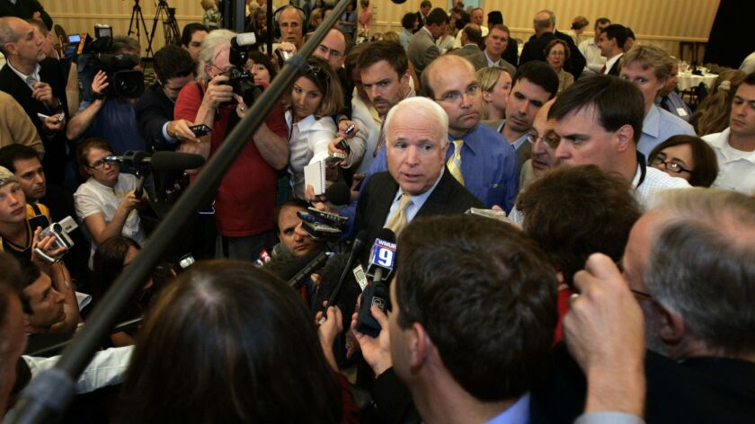 John McCain, shown on the campaign trail in 2007. After his death Saturday, his book hit bestseller lists.