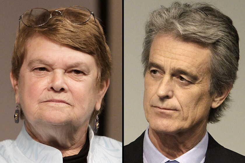 Supervisorial candidates Sheila Kuehl, left, and Bobby Shriver will debate tonight in Pacoima.