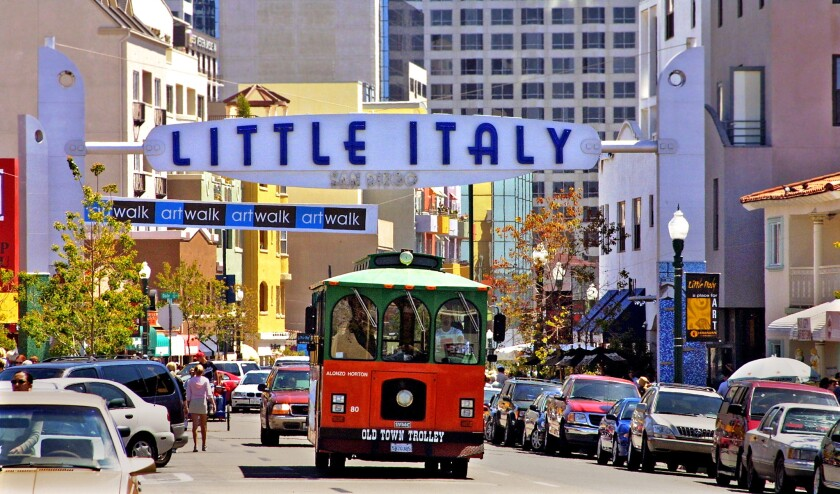 San Diego's Old Town Trolley makes its way through Little Italy.