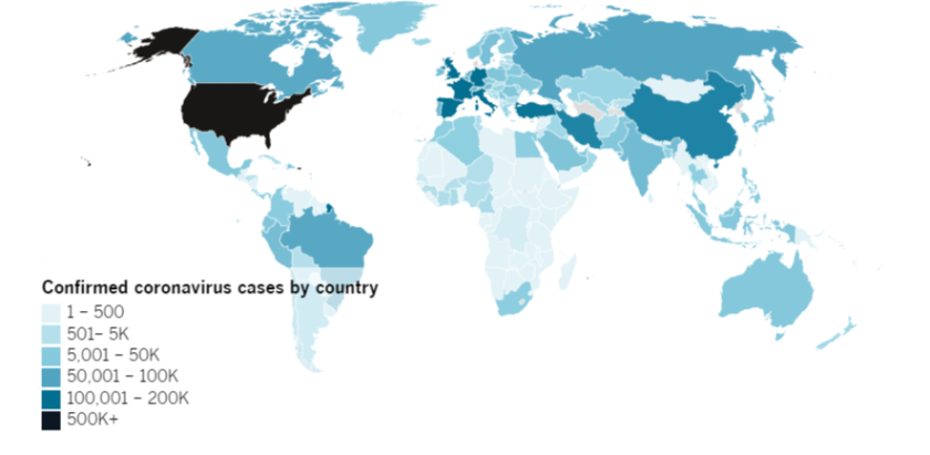 Confirmed COVID-19 cases by country as of 5 p.m. PDT Monday, April 20. Click to see the map from Johns Hopkins CSSE.