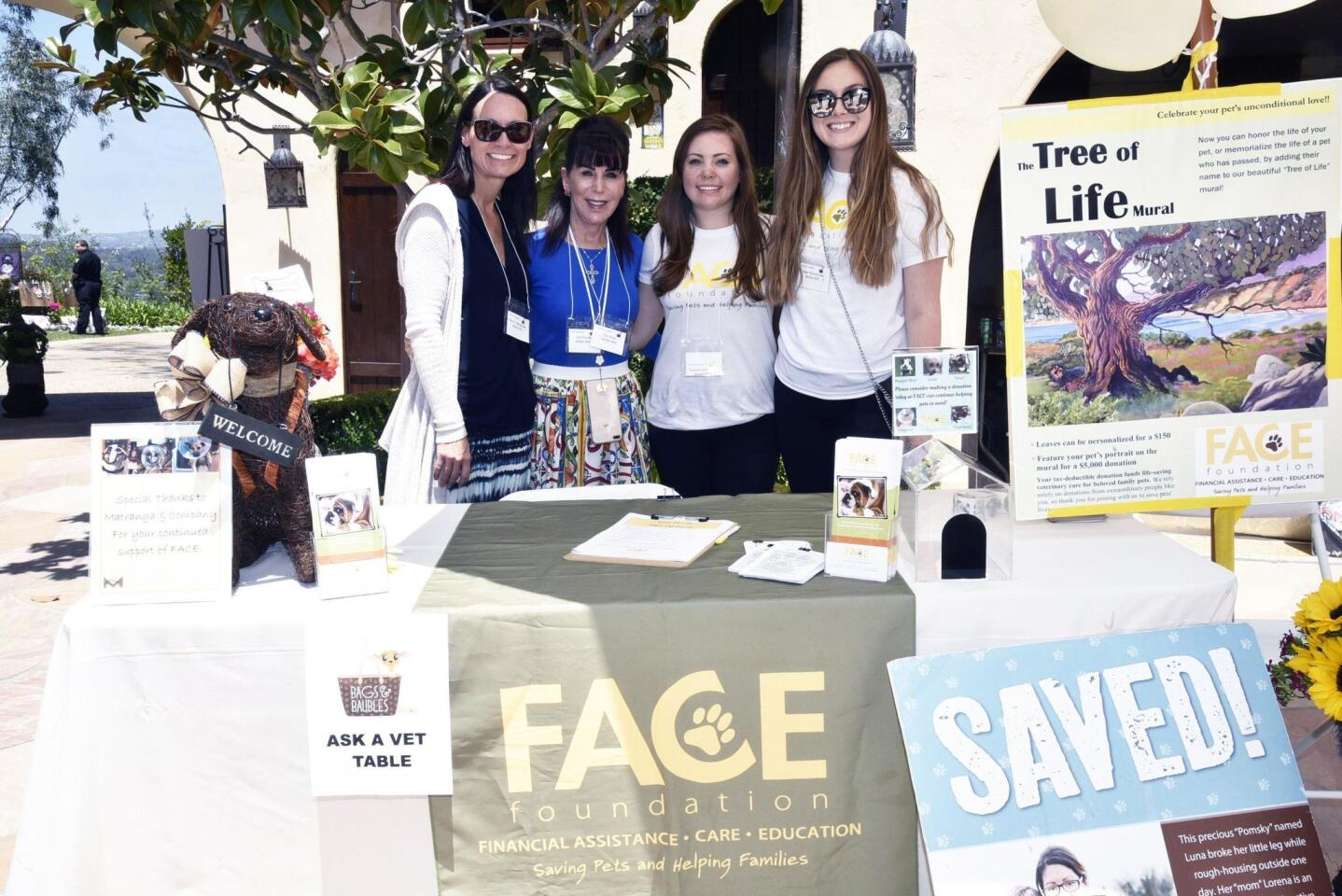 FACE Foundation board member/veterinary neurologist Dr. Tammy Stevenson, President/Co-founder/hostess Cini Robb, Event Coordinator Rachel Rothstein, Events and Administrative Assistant Kate Moorhouse
