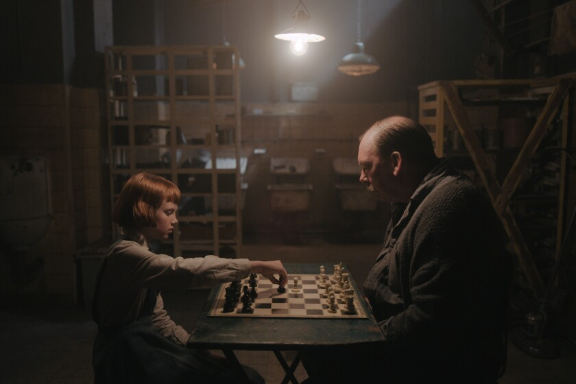 "Isla Johnston and Bill Camp in ""The Queen's Gambit."""