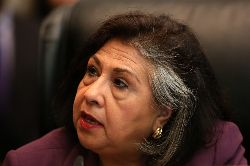 Former Los Angeles County Supervisor Gloria Molina, now a candidate for L.A. City Council, is shown at a supervisors meeting in 2013.