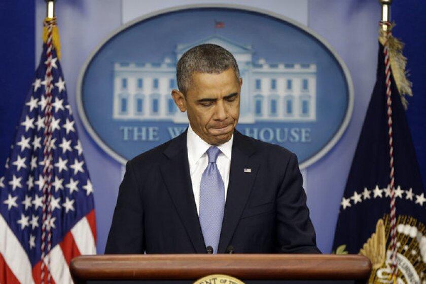 President Obama prepares to speak on the possible government shutdown.