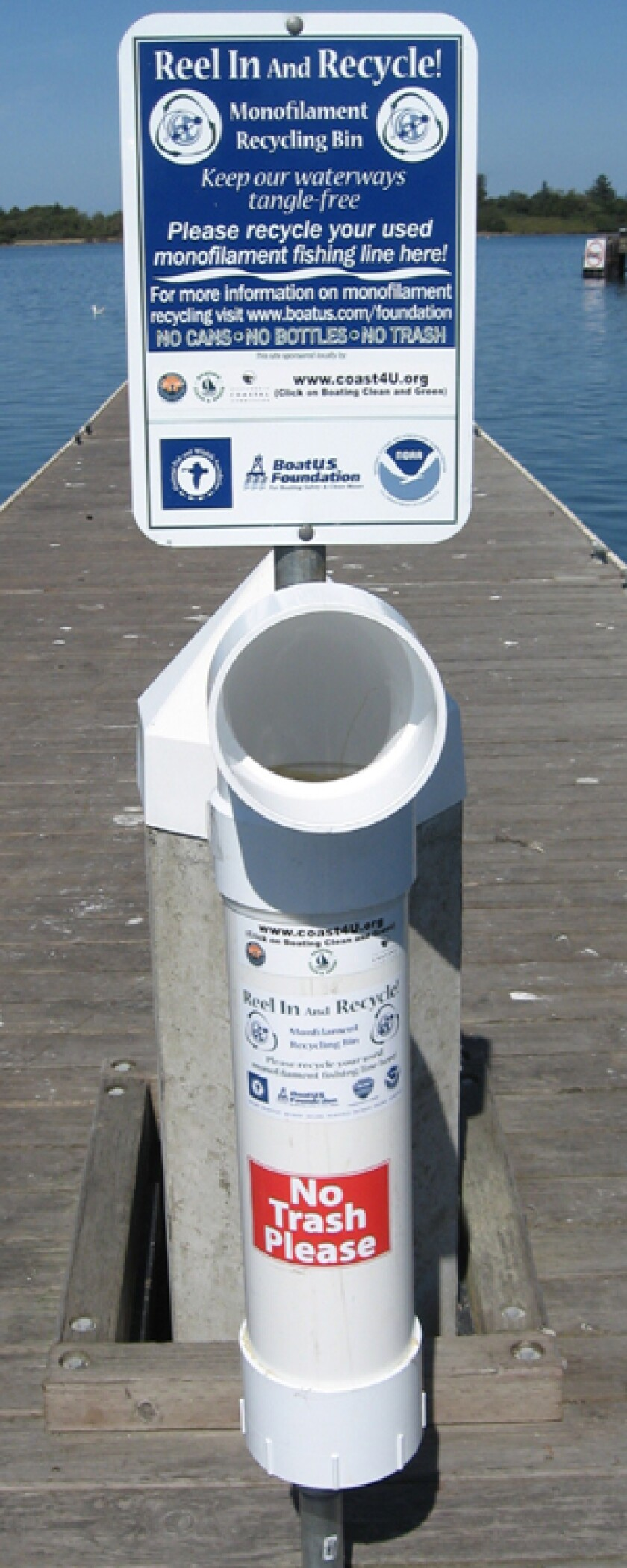 Michael Tesis and the UCSD Triton Lobby Corps want to place bins like this at Black's Beach to recycle fishing line.