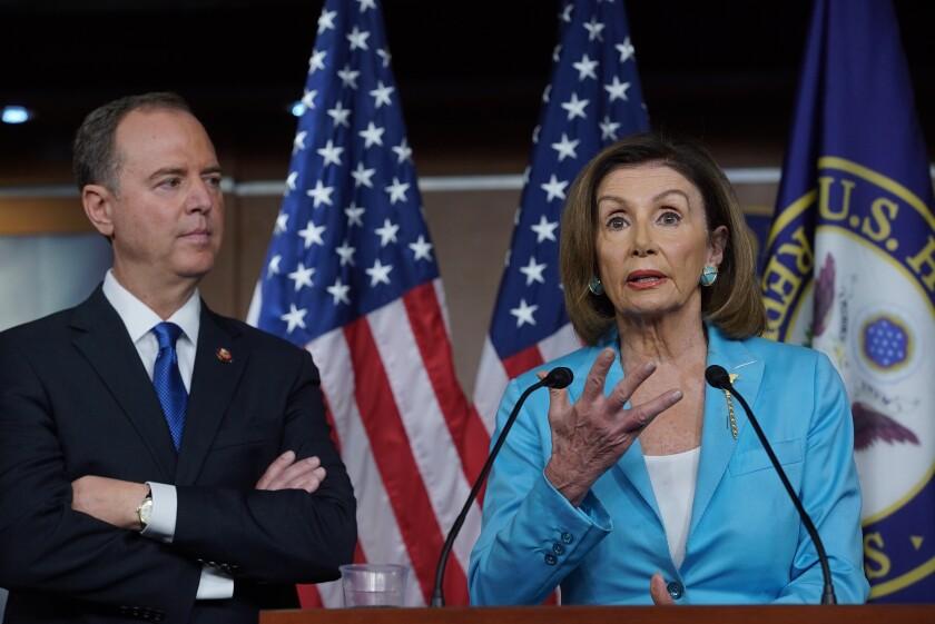 Rep. Adam B. Schiff and House Speaker Nancy Pelosi