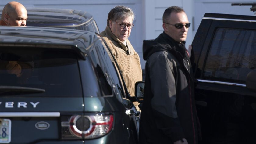 Attorney General William Barr leaves his home in McLean, Va., on Saturday morning, March 23, 2019. S