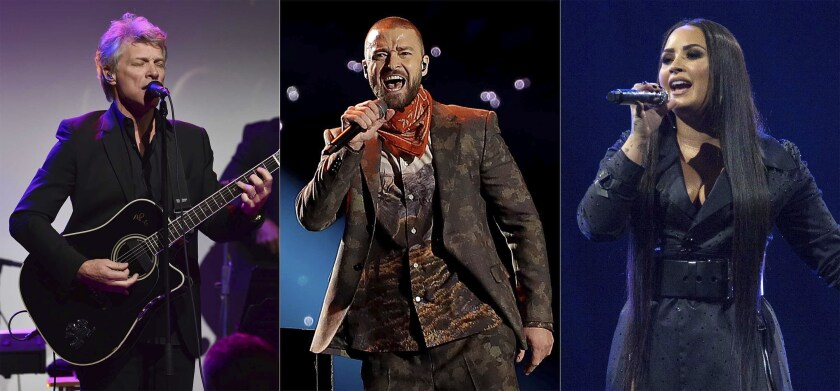 These photos show Jon Bon Jovi , Justin Timberlake and Demi Lovato performing at prior events.