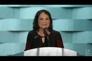 Civil rights activist Dolores Huerta speaks at the Democratic National Convention