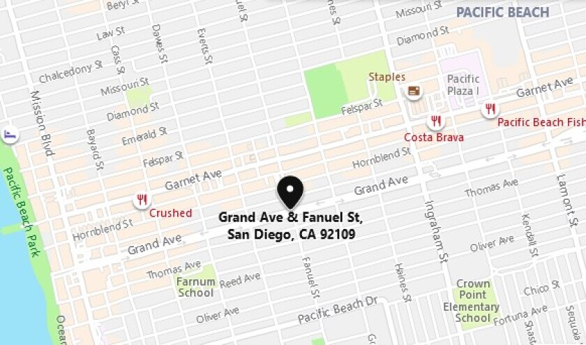 A pedestrian was seriously injured when he was hit by a car late May 16 near Grand Avenue and Fanuel Street in Pacific Beach.