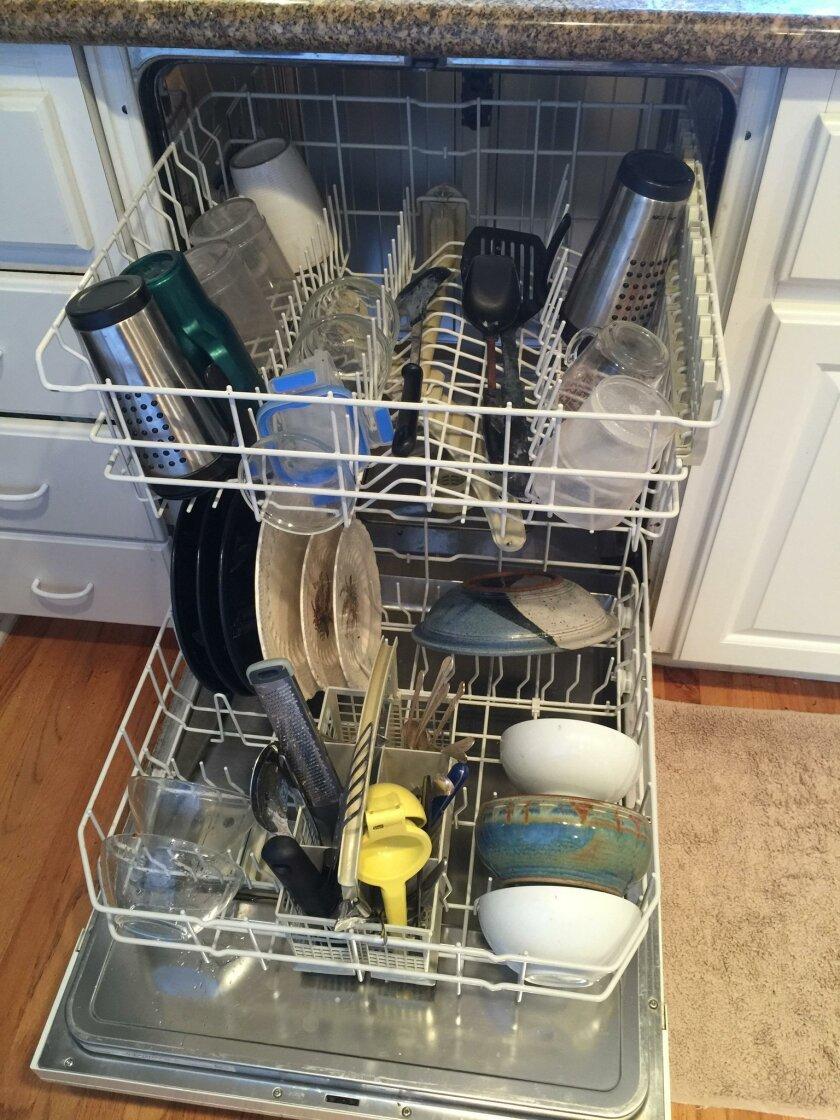 Olof-loaded dishwasher