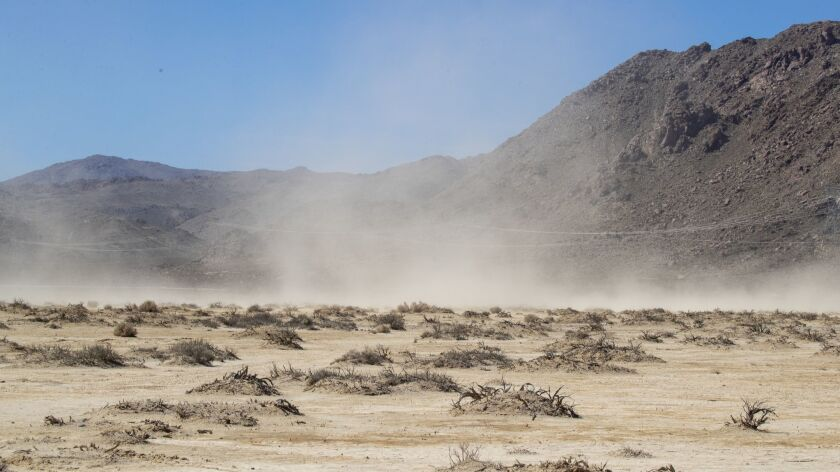 LUCERNE VALLEY, CALIF. -- MONDAY, FEBRUARY 25, 2019: A dust storm moves across the Lucerne Dry Lake