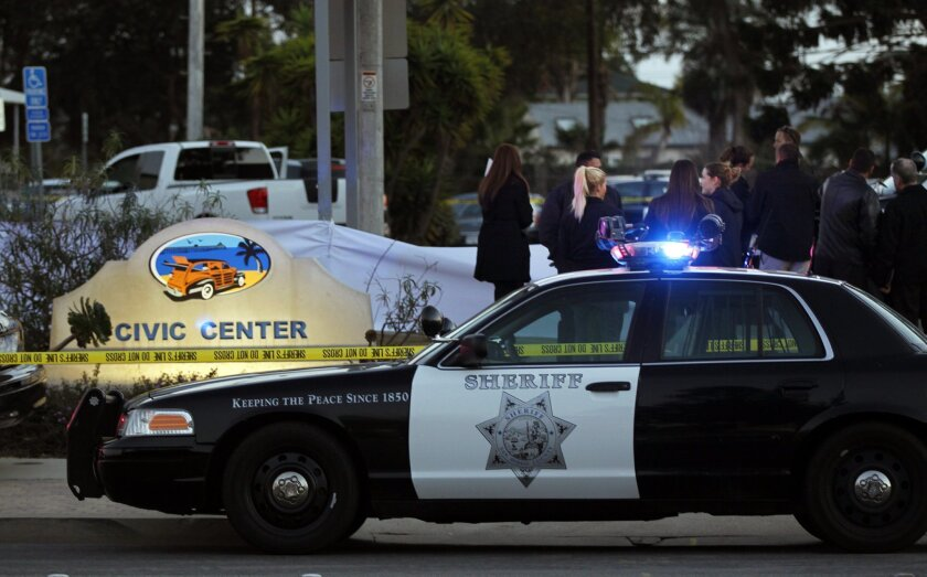 Sheriffs begin to investigate a murder in the parking lot of the Imperial Beach Sheriff's Station.