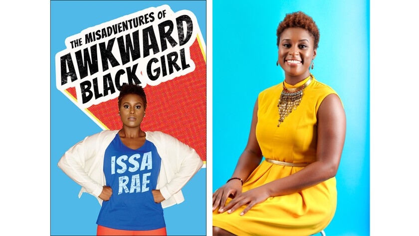 """Cover of the book """"The Misadventures of Awkward Black Girl"""" and author Issa Rae"""