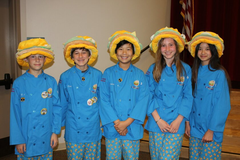 Pictured at top, L-R, are: D.J. Nelson, sixth grade; Tyler Bovenzi, eighth grade; Brandon Wong, eighth grade; Katherine Arnold, seventh grade; and Gaby Nguyen, eighth grade. Photo by Joe Tash