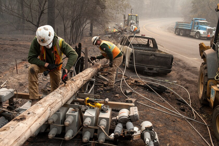 PG&E workers after the Camp fire