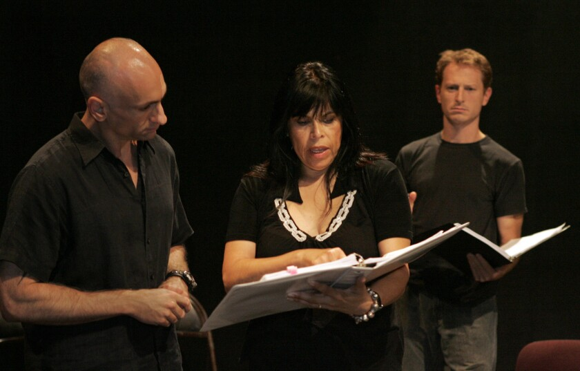 Diane Rodriguez, center, will be nominated by President Obama to the National Council on the Arts. Rodriguez is shown with director Dudley Saunders, left, and actor Leo Marks in Los Angeles in 2006.