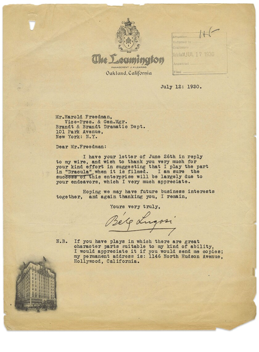 """Actor Bela Lugosi's lobbying efforts for a role that would make him a legend in 1931's """"Dracula,"""" in """"Letters From Hollywood."""""""