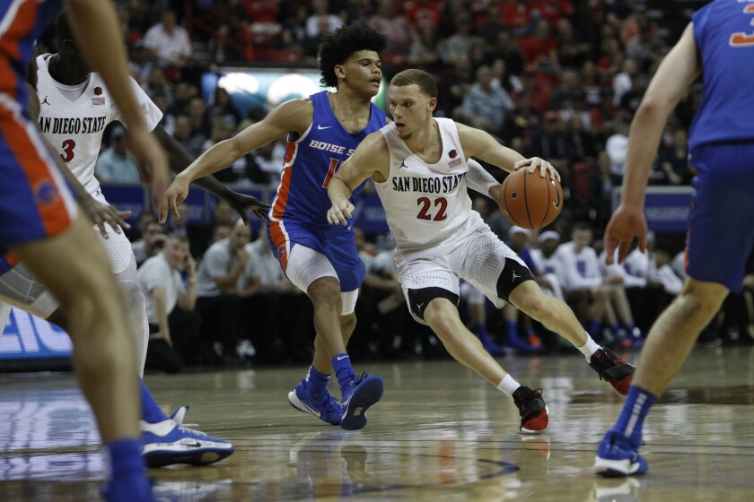 San Diego State's Malachi Flynn drives against Boise State on March 6, 2020.