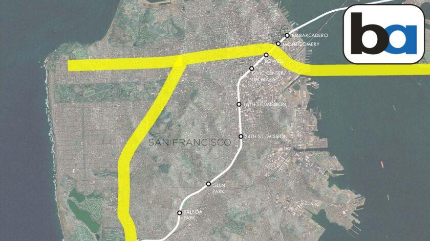 An idea for extending BART into western San Francisco.