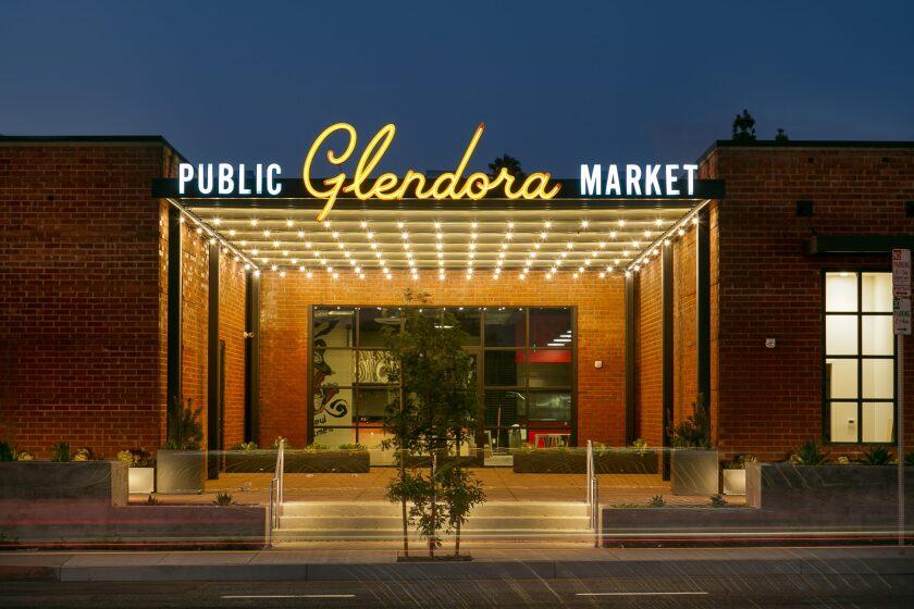 An exterior view of Glendora Public Market