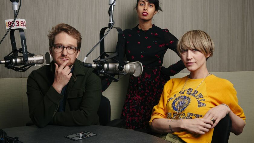 "KPCC's ""Big One"" podcast host Jacob Margolis, producer Misha Euceph and head of podcasting Arwen Nicks assemble in the public radio station's Pasadena studio."