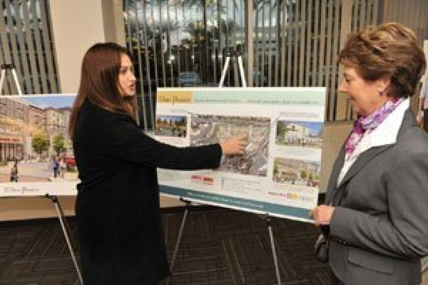Kilroy's Jan. 10 Open House on the One Paseo project: (L-r) Tracy Aragon and Marie Garber