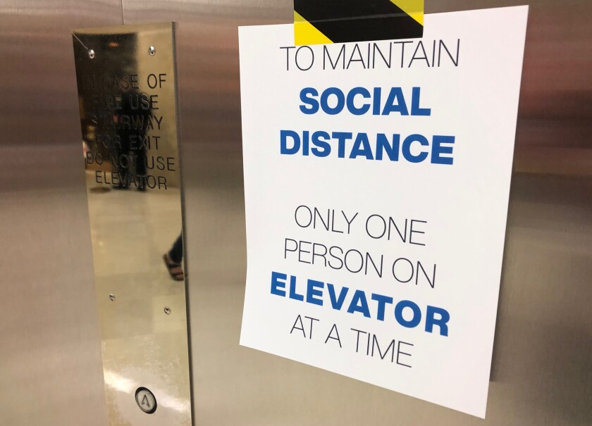 Elevators in the Capitol were limited to a single occupant as the Assembly returned to work on Monday.