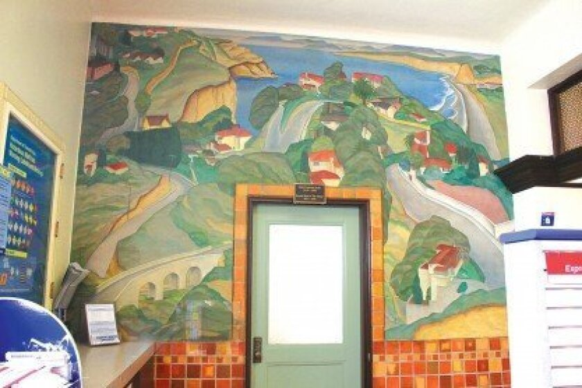The WPA-era mural, 'Scenic View of the Village,' by Belle Baranceanu as seen on a wall inside the La Jolla post office at 1140 Wall St. Photo by Ashley Mackin