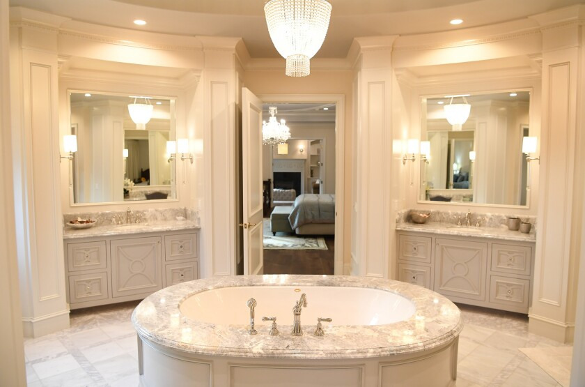The master bathroom inside an Arcadia mansion that has gone unsold after two months on the market.