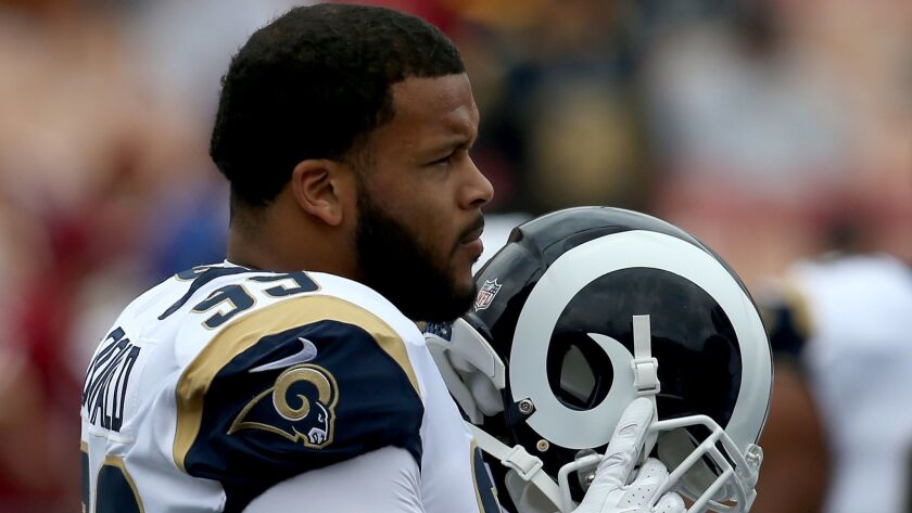 LOS ANGELES, CALIF. - SEP. 17, 2017. Rams star defensive lineman Aaron Donald warms up before the