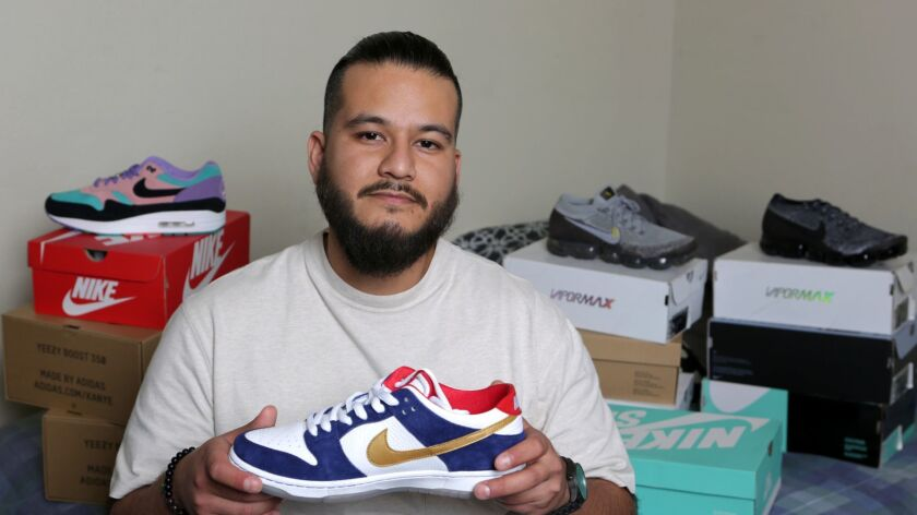 LOS ANGELES, CA-APRIL 5, 2019: Johan Aguirre, a sneaker fan, collector and, most importantly, a suc