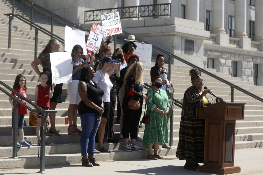 Betty Sawyer joins others in protesting Utah lawmakers' plans to pass bans of critical race theory concepts